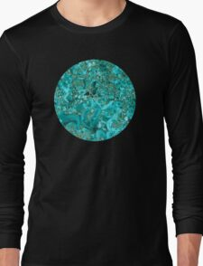 Marble Turquoise Blue Gold Long Sleeve T-Shirt