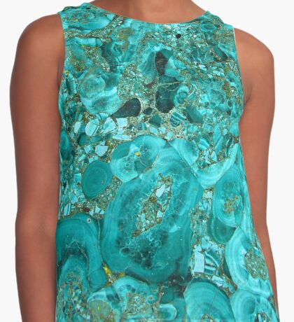 Marble Turquoise Blue Gold Contrast Tank