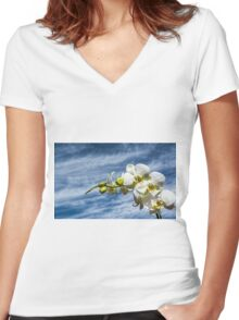 White Orchid Women's Fitted V-Neck T-Shirt
