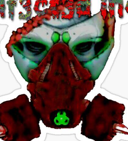 Zombie Clown Gasmask Sticker