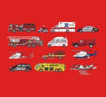 Emergency Vehicles - The Kids' Picture Show - 8-Bit Kids Tee