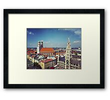 Munich viewed from St Peterskirche, with Frauenkirche and Rathaus Framed Print