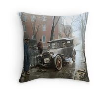 Auto Wreck in Washington DC, 1921. Colorized Throw Pillow