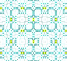 Turquoise Blue & White Geometric Abstract Design by Mercury McCutcheon