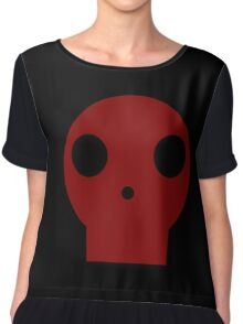 Red Skull Cartoon Chiffon Top