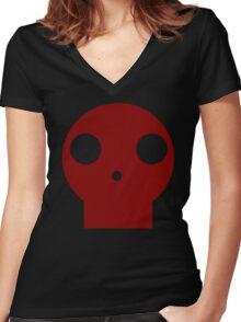Red Skull Cartoon Women's Fitted V-Neck T-Shirt