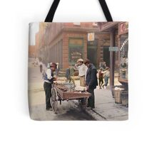 Clam seller on Mulberry Bend, New York, ca 1900 Tote Bag