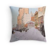 Piles of snow on Broadway, after storm, New York, ca 1905 Colorized Throw Pillow