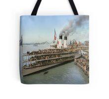Sidewheeler Tashmoo leaving wharf in Detroit, ca 1901 Colorized Tote Bag