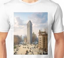 Flat Iron in New York City, ca 1903 colorized Unisex T-Shirt