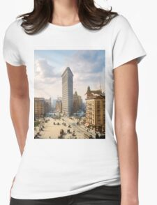 Flat Iron in New York City, ca 1903 colorized Womens Fitted T-Shirt