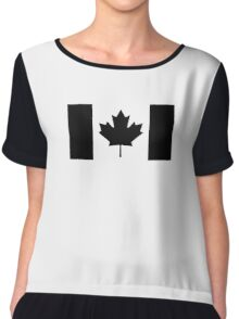 CANADA, CANADIAN, Canadian Flag, National Flag of Canada, Funeral, Mourning, A Mari Usque Ad Mare, Pure & Simple, in BLACK,  Chiffon Top