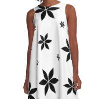Black and White Flower Print Original A-Line Dress