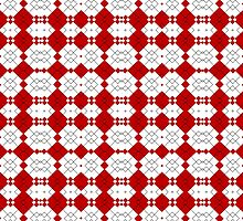 Red & White Geometric Abstract Design Pattern by Mercury McCutcheon