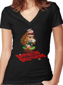 Brawling Brothers - ManBearPig Women's Fitted V-Neck T-Shirt