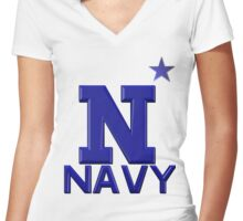 USNA Star Logo - Go Navy Women's Fitted V-Neck T-Shirt