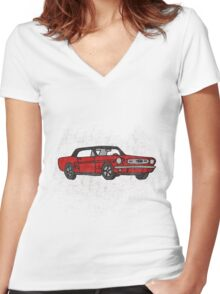 Cool Fun Retro Red Mustang Convertible Art Women's Fitted V-Neck T-Shirt