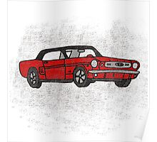 Cool Fun Retro Red Mustang Convertible Art Poster