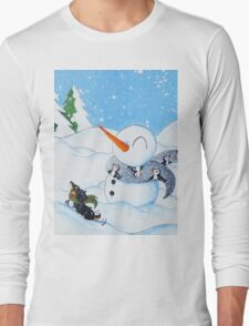 A Pup and His Snowman Long Sleeve T-Shirt