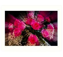 Pink Roses Bouquet Explosion Art Print
