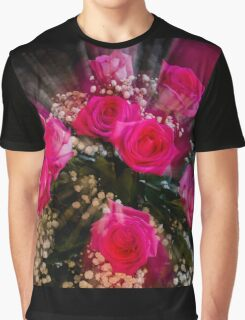Pink Roses Bouquet Explosion Graphic T-Shirt