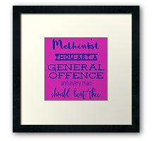 """""""Thou art a general offence"""" Shakespeare insult (blue) Framed Print"""