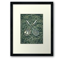 Badminton Racket And Shuttlecock Equipment In Grass Framed Print