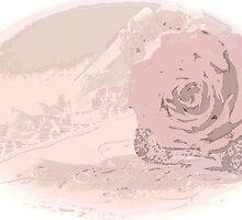 Pink Rose And Linen - Digital Art Work by Sandra Foster