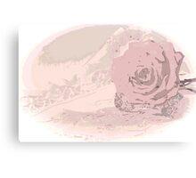 Pink Rose And Linen - Digital Art Work Canvas Print