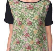 Tropical Leaves and Hibiscus Pattern Chiffon Top