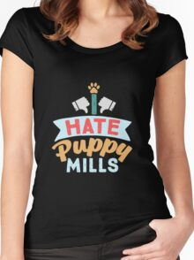 I HATE PUPPY MILLS 3 Women's Fitted Scoop T-Shirt