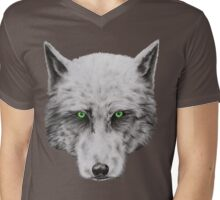 Green Eyed Wolf Mens V-Neck T-Shirt