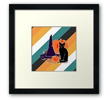 Witch Cat Pumpkin Woodcut Halloween Design with Candy Corn Stripes Framed Print