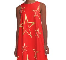 Golden Stars Print on Red A-Line Dress