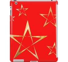 Golden Stars Print on Red iPad Case/Skin