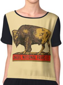 Canada's National Parks 1951 vintage sticker Chiffon Top