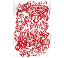 Super Mario Doodle Red Poster