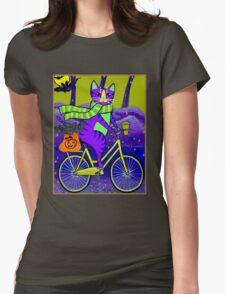 HALLOWEEN CAT; Bicycle Abstract Whimsical Print Womens Fitted T-Shirt