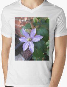 New Blue Clematis Blossom Mens V-Neck T-Shirt