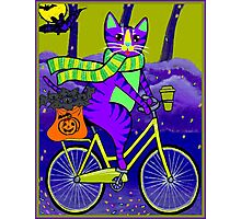 HALLOWEEN CAT; Bicycle Abstract Whimsical Print Photographic Print