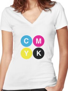 CMYK Stops Women's Fitted V-Neck T-Shirt