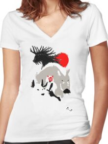 Japanese Forest Women's Fitted V-Neck T-Shirt