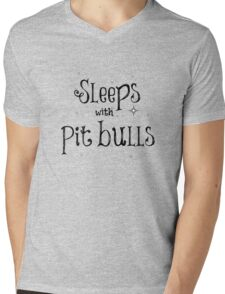 Sleeps with Pit Bulls Mens V-Neck T-Shirt