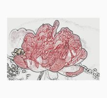 Red Peony, Pencil One Piece - Short Sleeve