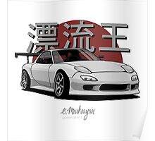 Drifting King RX7 (white / gray) Poster