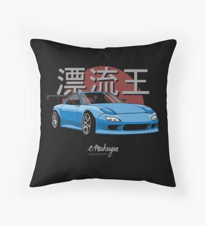 Drifting King RX7 (blue) Throw Pillow