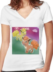 Vulpix and Shiny Vulpix Women's Fitted V-Neck T-Shirt