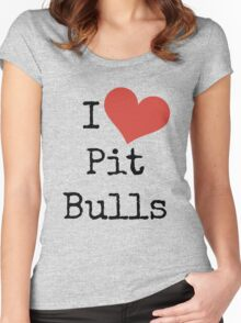 I Love Pit Bulls! Women's Fitted Scoop T-Shirt