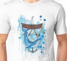 whale under boat Unisex T-Shirt