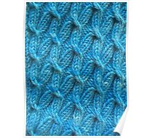 Hand dyed knitted cables blue Poster